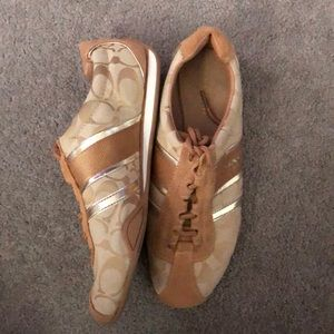 Tan and Gold Coach Sneakers
